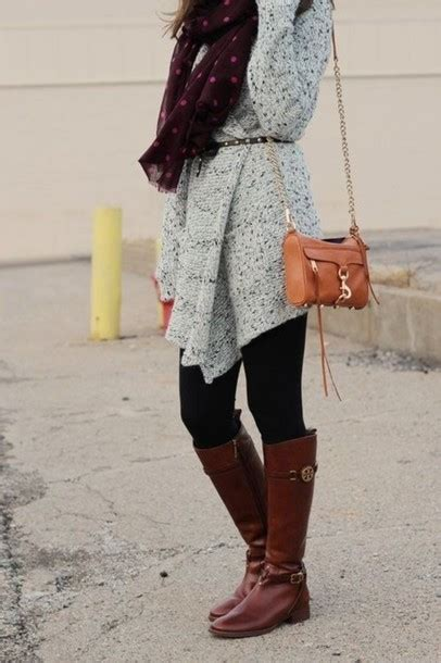 sweater grey brown black cardigan scarf shoes