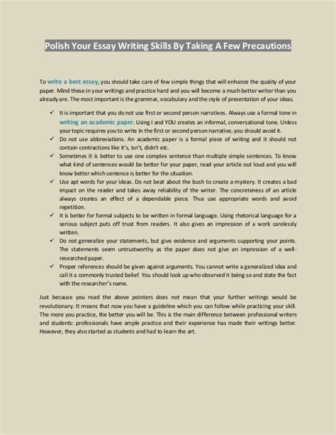 Essay About Writing Skills by Your Essay Writing Skills By Taking A Few Precautions
