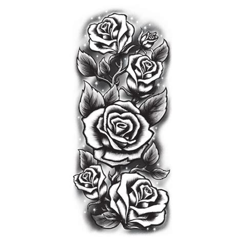 black and white rose tattoo sleeve a2sleevetat customizable sleeve black white