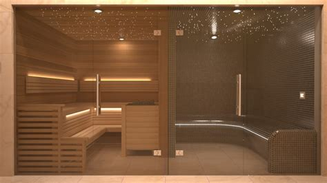 adjacent sauna and steam room