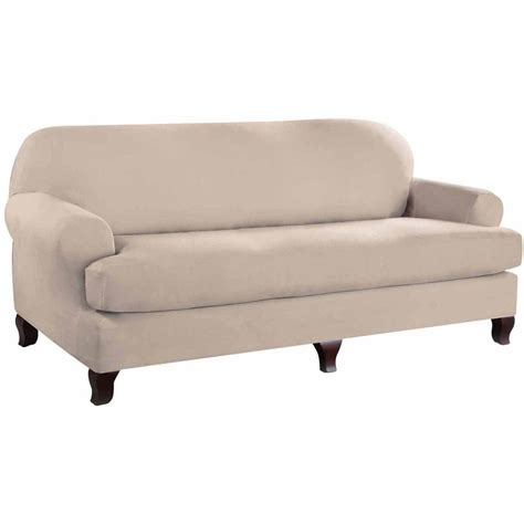 Serta Stretch Fit Microsuede Slipcover Sofa 2 Piece T Microsuede Sofa Slipcover