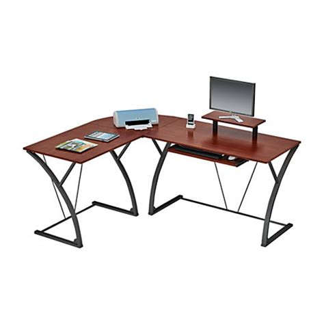 Office Depot Glass Computer Desk Z Line Designs Khloe L Shaped Glass Computer Desk Espresso By Office Depot Officemax