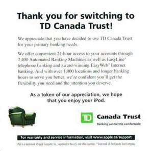 i got my free ipod nano from td bank today canadian