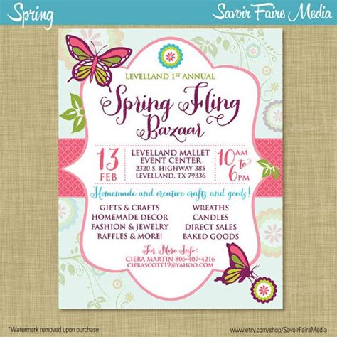 spring bazaar fling craft market expo invitation poster