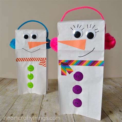 Paper Bag Snowman Craft - 25 winter crafts preschool and toddlers are going to