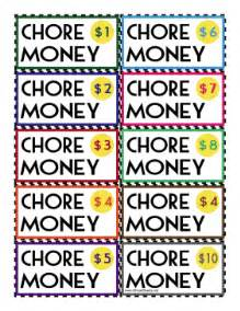 printable colorful chore money