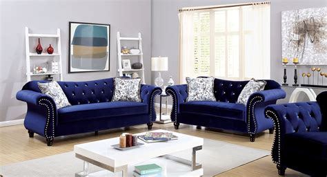 blue living room furniture furniture of america jolanda blue flannelette fabric