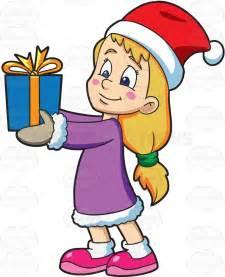 a giving her christmas gift cartoon clipart vector
