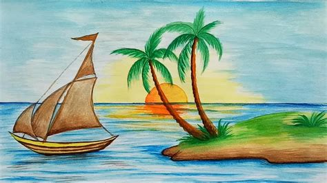 boat drawing with colour how to draw scenery of island with water colour step by