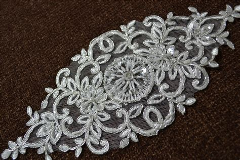 lace applique ivory beaded lace applique with silver cord wedding
