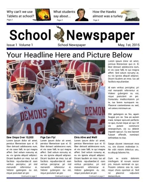 modern newspaper layout tips for schools
