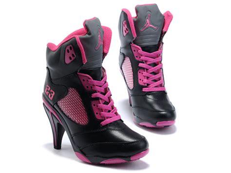 air jordans 5 v high heels shoes pink black nike high