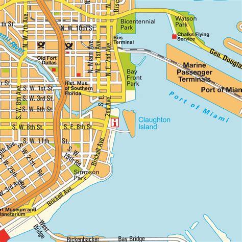 Plan de centre ville Miami, Florida, USA États Unis d´Amérique. Cartes, plans et itinéraires hot