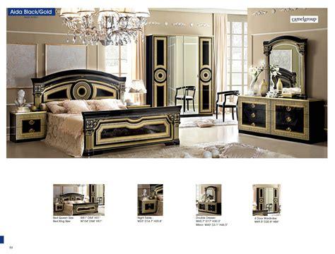 aida versace design italian 6 item bedroom set in ivory ebay aida black w gold camelgroup italy classic bedrooms