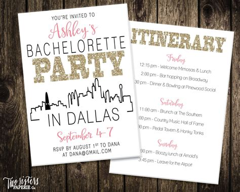 Bachelorette Itinerary Template A Gray And Pink Bachelorette Party Invitation Bachelorette Bachelorette Itinerary Template