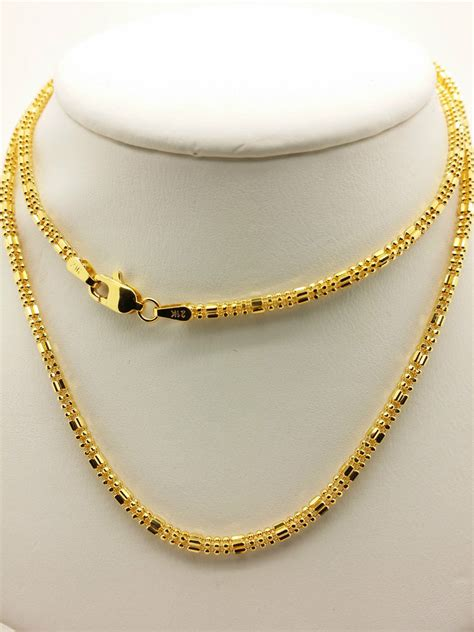 Bangs Chain Locket Necklace by 21k Solid Yellow Gold Sparkle Square Beaded Necklace