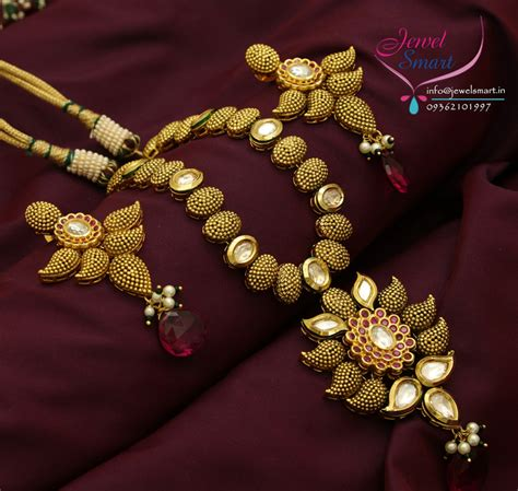 gold plated real kundan stones necklace antique finish new