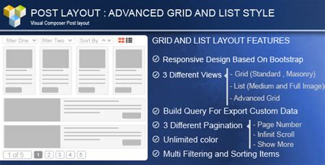 grid layout visual composer advance post grid list with custom filtering for visual