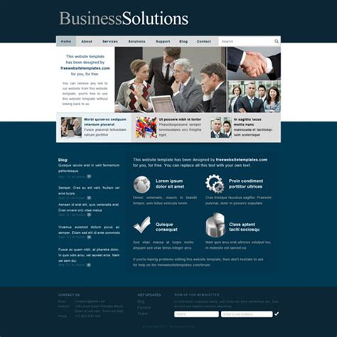 Business Solutions Website Template Free Website Templates Website Templates For Business