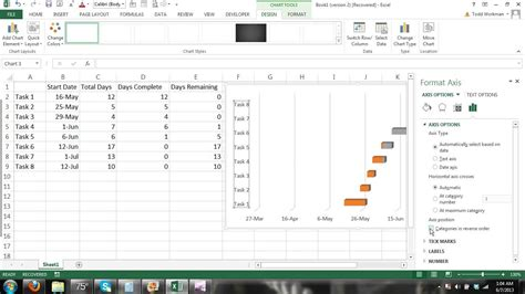 tutorial excel 2013 charts how to make a gantt chart microsoft excel 2013 tutorial 2