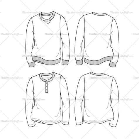 sweatshirt template illustrator s sweatshirt henley fashion flat template