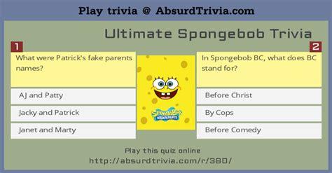 ultimate film quiz questions ultimate spongebob trivia