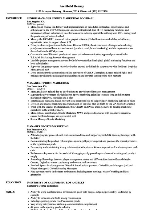 Manager Sports Marketing Resume Sles Velvet Jobs Sports Management Resume Template