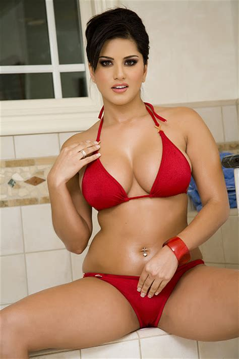 xxx porn bathroom hotmirchigirls sunny leone in red bikini in bath room hq