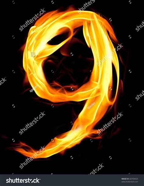 Fiery Numbers Stock Photos Images Fiery Number Nine Stock Photo 60709423