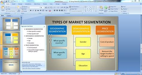 Using Hierarchy List Smartart In Powerpoint Presentations Target Market Segment Strategy Template