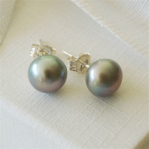 Pearl Earring grey freshwater pearl earrings by highland