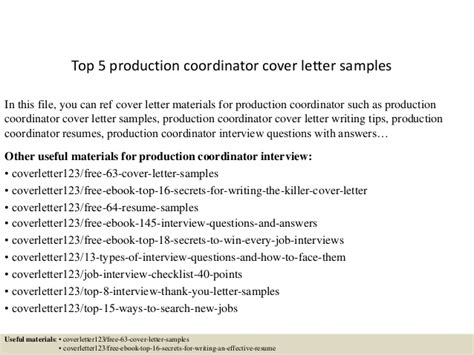 production coordinator cover letter top 5 production coordinator cover letter sles