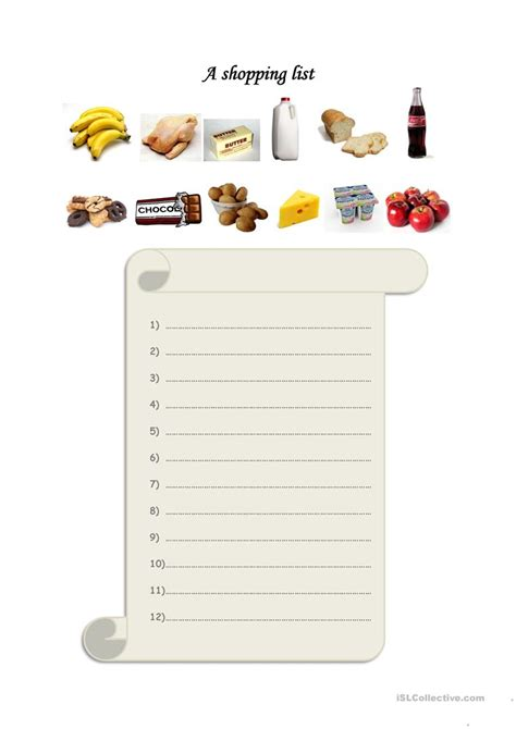 shopping for sheets a shopping list worksheet free esl printable worksheets