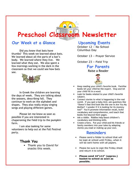 28 october preschool newsletter template the crafty