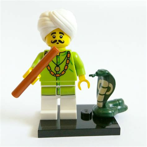 Lego Part Green Snake Cobra With And Black Pattern snake charmer lego collectible minifigure series 13