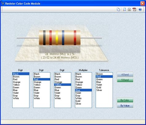 resistor color calculator software resistor color code calculator software