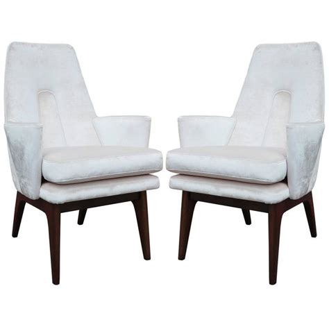 pale pink velvet chair pair of adrian pearsall modern high back lounge chairs in