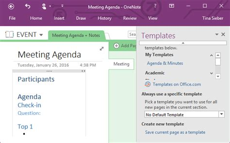 Onenote Meeting Template how you can use microsoft onenote for project management