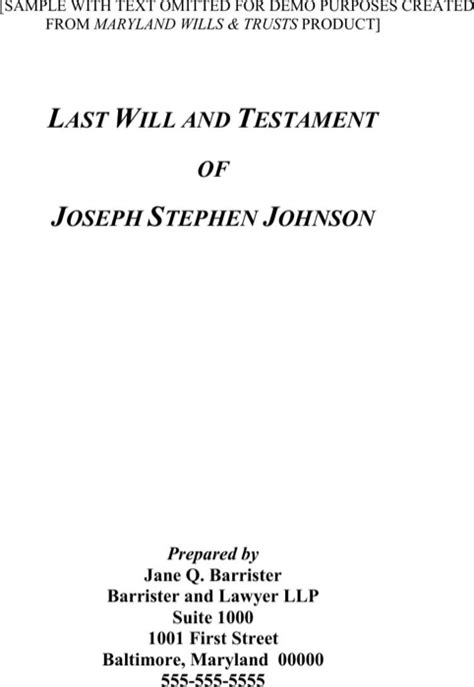 last will and testament free template maryland maryland last will and testament form for free