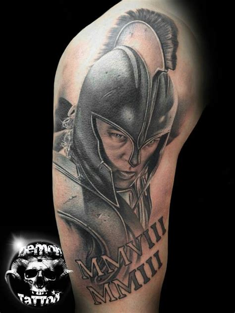 realistic warrior achilles tattoo on shoulder