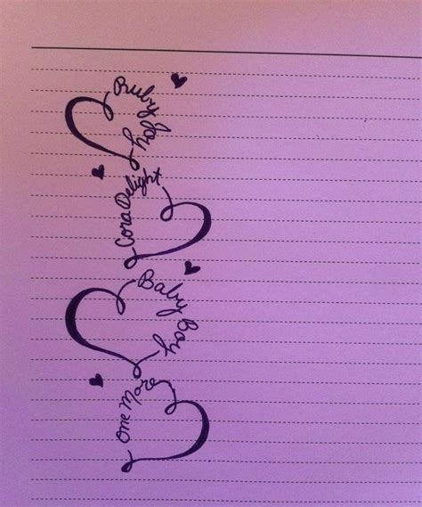heart tattoo designs with kids names idea maybe with white ink each of my