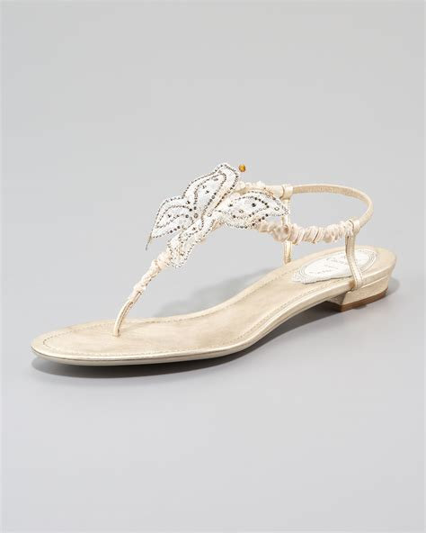 ivory flat sandals rene caovilla mesh butterfly flat sandal in white