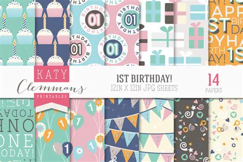 My 1st Birthday Essay by 1st Birthday Patterned Papers Patterns On Creative Market