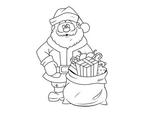 gift bag coloring page santa claus with a bag of gifts coloring page