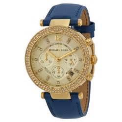 michael kors chronograph gold tone navy leather