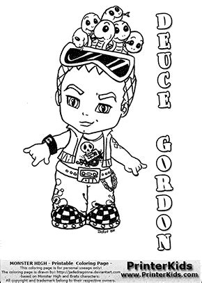 monster high chibi coloring pages baby monster high coloring pages monster high deuce
