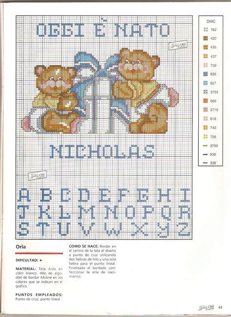 lettere a punto croce per bavaglini alfabeto azzurro e orsetti per bavaglino 232 nato nicholas