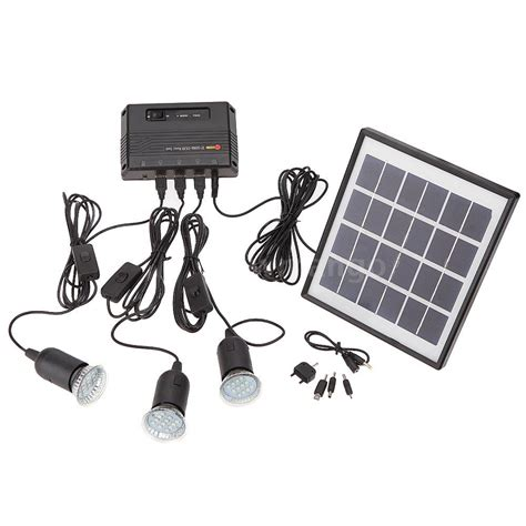 solar powered kit outdoor solar powered led lighting bulb system solar panel home system kit nm ebay