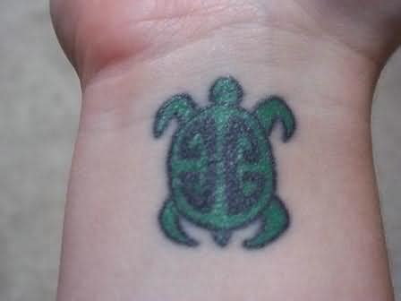 shiny tattoo shiny turtle on wrist