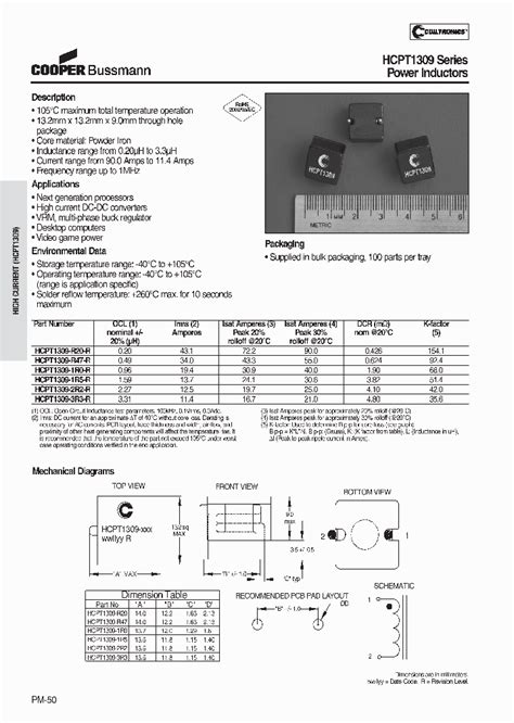 iron inductor datasheet hcpt1309 3r3 r 7731069 pdf datasheet ic on line
